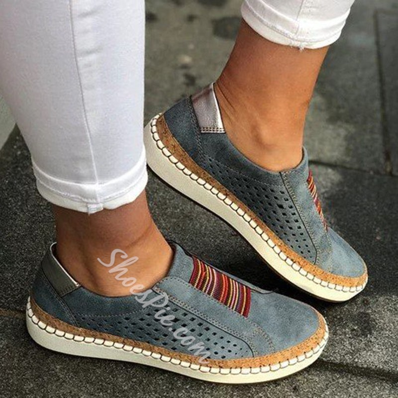 Shoespie Stylish Flat With Hollow Slip-On Casual Thin Shoes