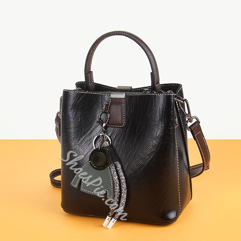 Shoespie PU Patchwork Rectangle Casual Versatile Tote Bags