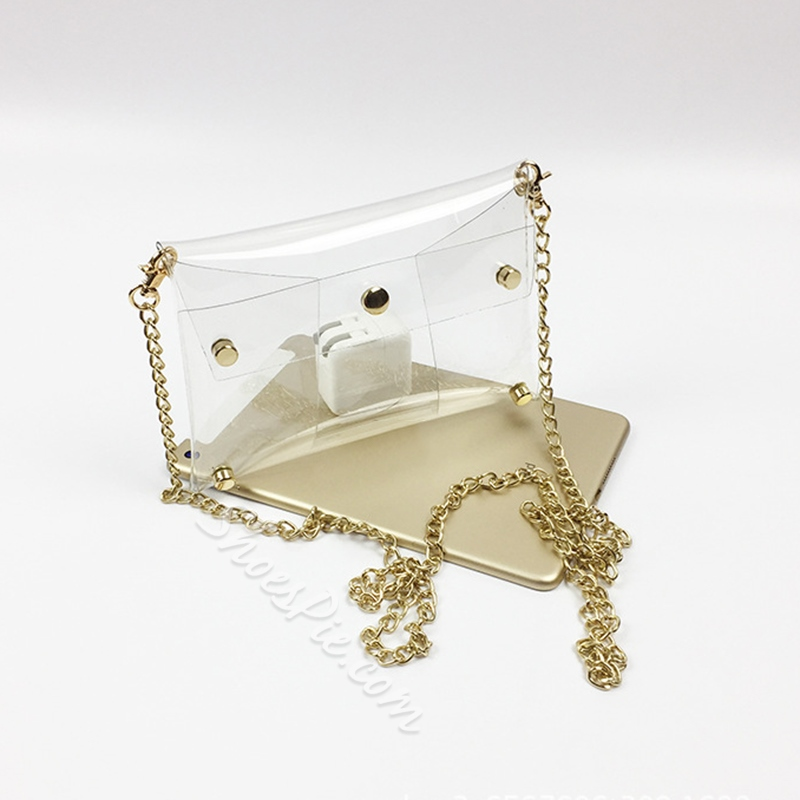 Shoespie Chain Plain PVC Rectangle Crossbody Bags