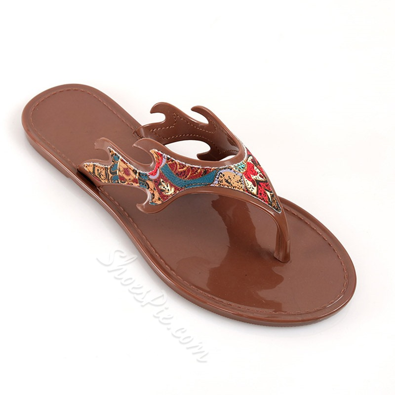 Shoespie Trendy Flat With Appliques Thong Summer Slippers