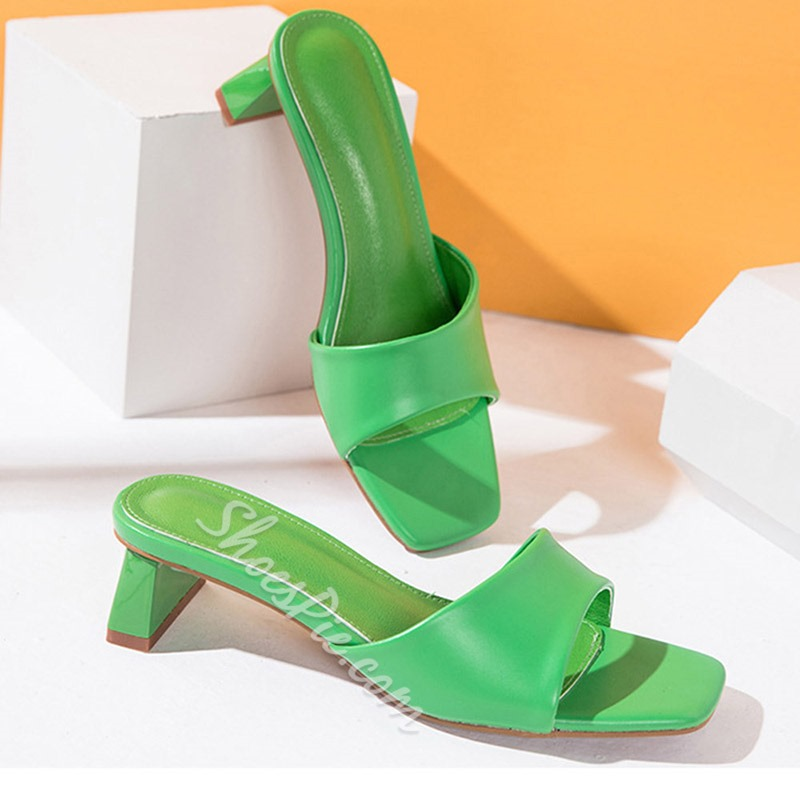Shoespie Trendy Chunky Heel Slip-On Flip Flop Summer Slippers