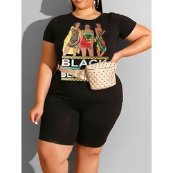 Print Western Shorts Round Neck Women's Two Piece Sets
