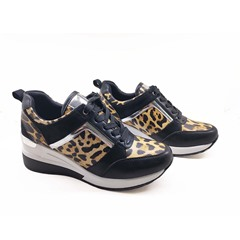 Shoespie Trendy Print Round Toe Lace-Up PU Sneakers