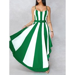 Floor-Length Print Sleeveless Stripe Women's Dress
