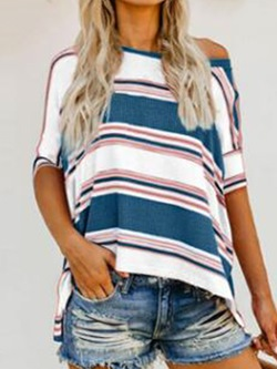 Half Sleeve Stripe Round Neck Casual Women's T-Shirt