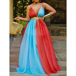 Patchwork Sleeveless Floor-Length High Waist Women's Dress