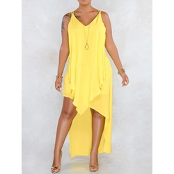 V-Neck Sleeveless Casual Asymmetrical Women's Dress