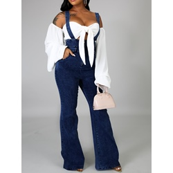 Plain Casual Full Length Slim Wide Legs Women's Jumpsuit