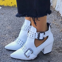 Shoespie Trendy Back Zip Plain Pointed Toe PU Boots