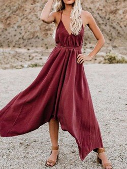 Sleeveless V-Neck Ankle-Length Plain Women's Dress