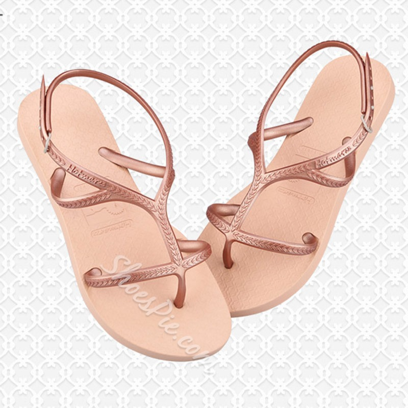 Shoespie Stylish Ankle Strap Flat With Buckle Buckle Sandals
