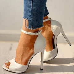 Shoespie Trendy Stone Peep Toe Line-Style Buckle Ultra-High Heel(≥8cm) Thin Shoes