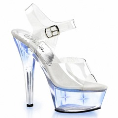 Shoespie Stylish Ankle Strap Peep Toe Buckle See-Through Sandals