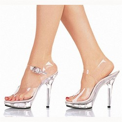 Shoespie Sexy Stiletto Heel Peep Toe Buckle See-Through Sandals