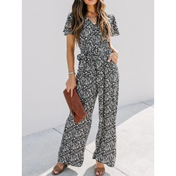 Full Length Lace-Up Casual Straight Women's Jumpsuit
