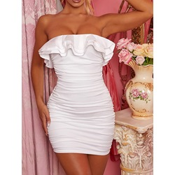Above Knee Pleated Sleeveless Bodycon Women's Dress