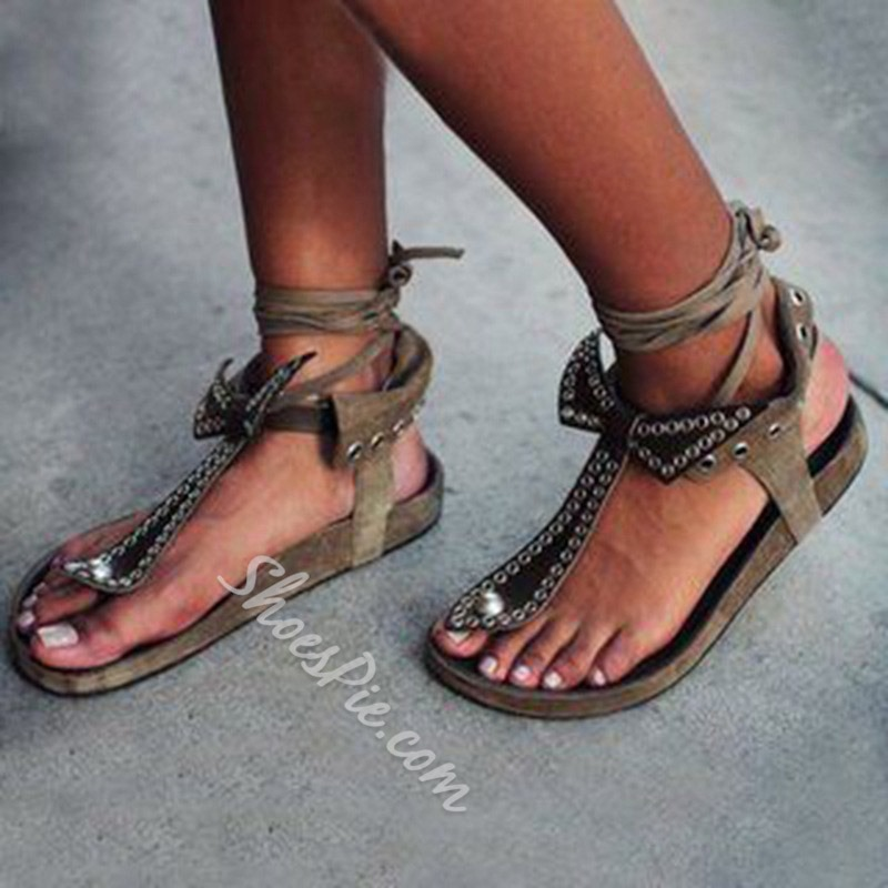 Shoespie Trendy Flat With Thong Lace-Up Casual Sandals