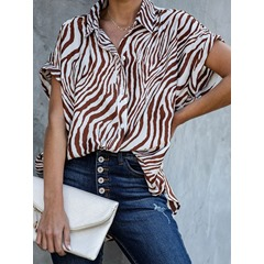 Lapel Regular Stripe Short Sleeve Women's Blouse
