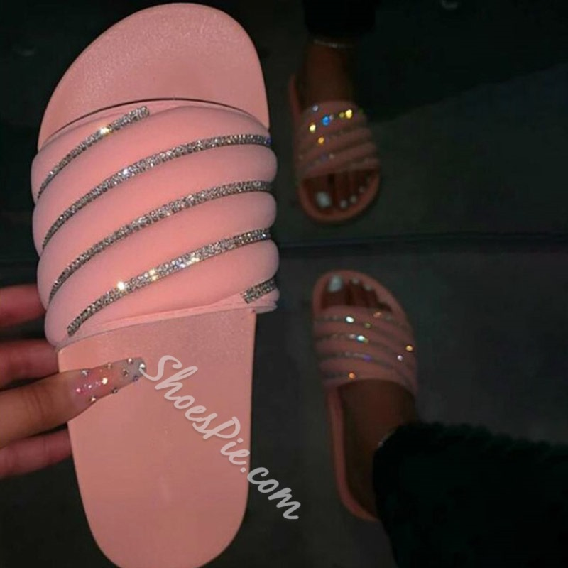 Shoespie Sexy Slip-On Rhinestone Flip Flop Casual Slippers