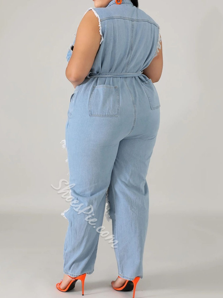 Plus Size Hole Western Full Length Loose Women's Jumpsuit