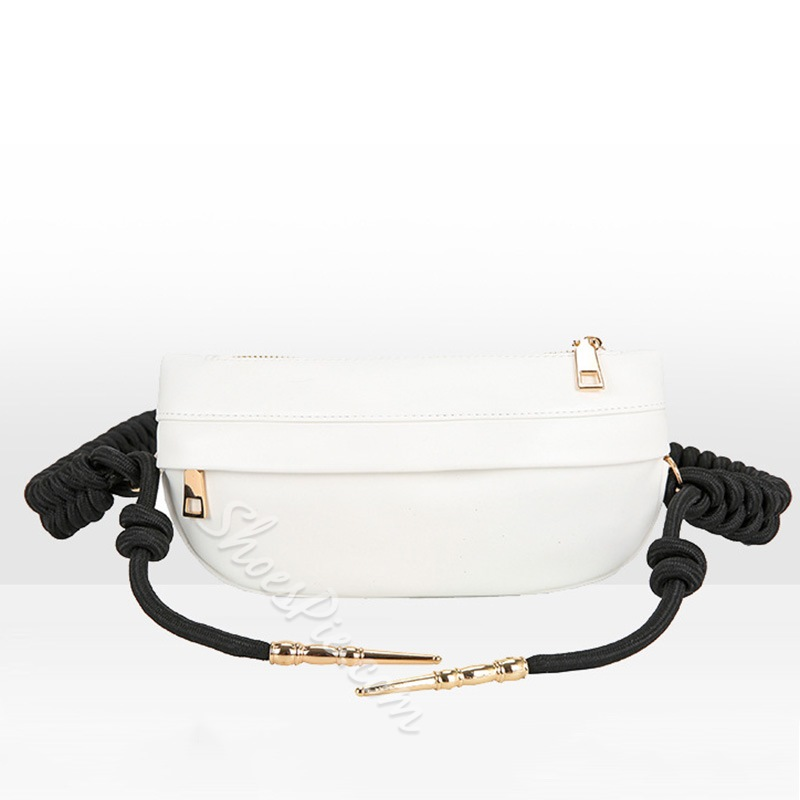 Shoespie Plain PU Thread Saddle Crossbody Bags