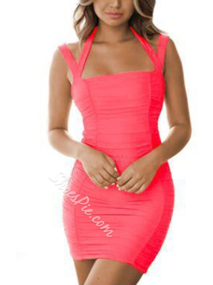 Above Knee Backless Sleeveless Bodycon Women's Dress