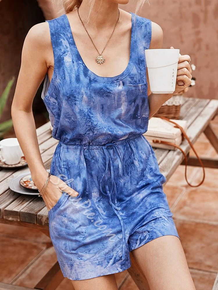 Lace-Up Color Block Casual Loose Women's Jumpsuit