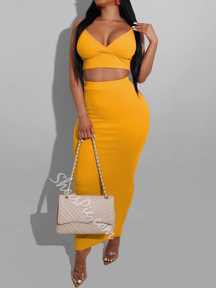 Split Simple Vest Bodycon Women's Two Piece Sets