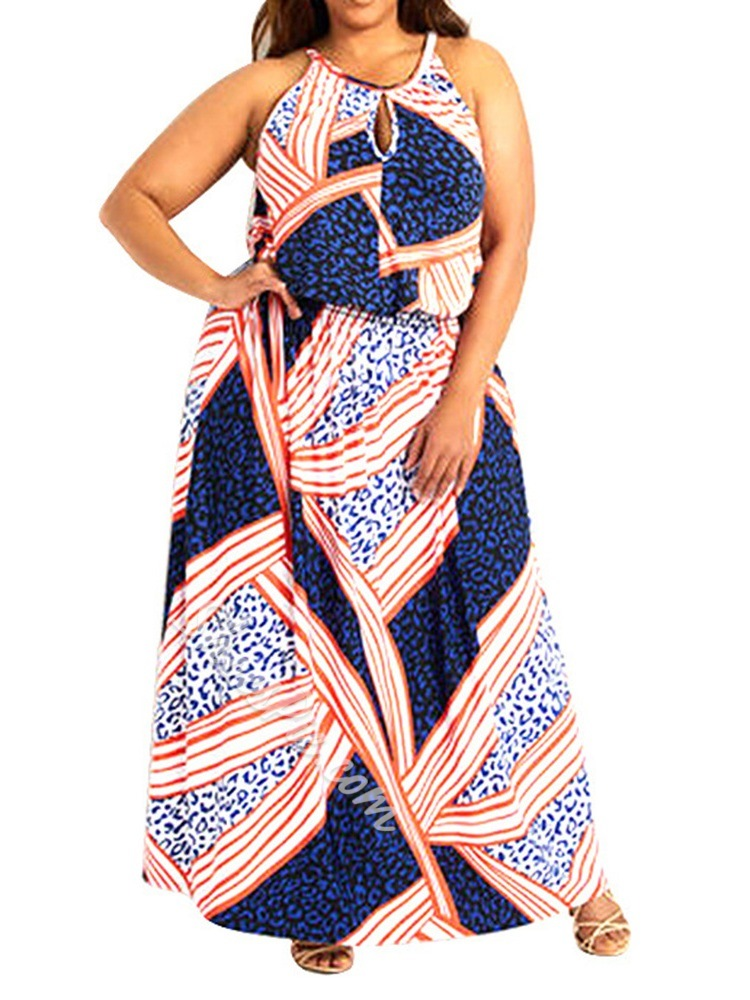 Plus Size Ankle-Length Sleeveless Print A-Line Women's Dress