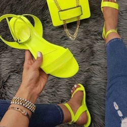 Shoespie Sexy Buckle Ankle Strap Round Toe Plain Sandals