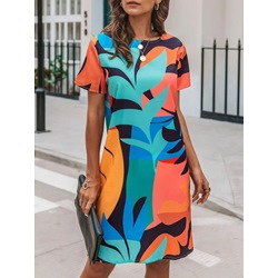 Print Short Sleeve Knee-Length Mid Waist Women's Dress