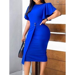 Round Neck Mid-Calf Short Sleeve Pencil Women's Dress