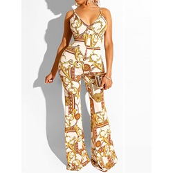 Full Length Print Western Bellbottoms Women's Jumpsuit