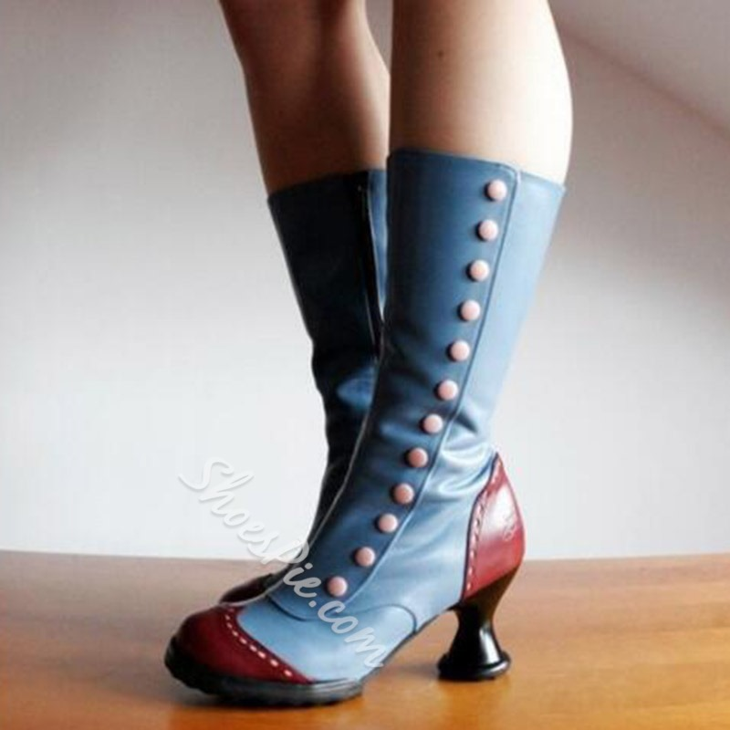 Shoespie Trendy Shaped Heel Patchwork Side Zipper Western Boots