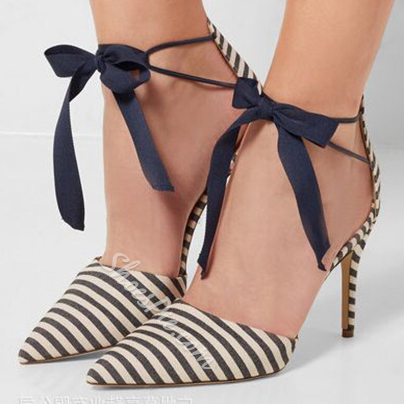 Shoespie Stylish Stiletto Heel Pointed Toe Lace-Up Lace-Up Sandals