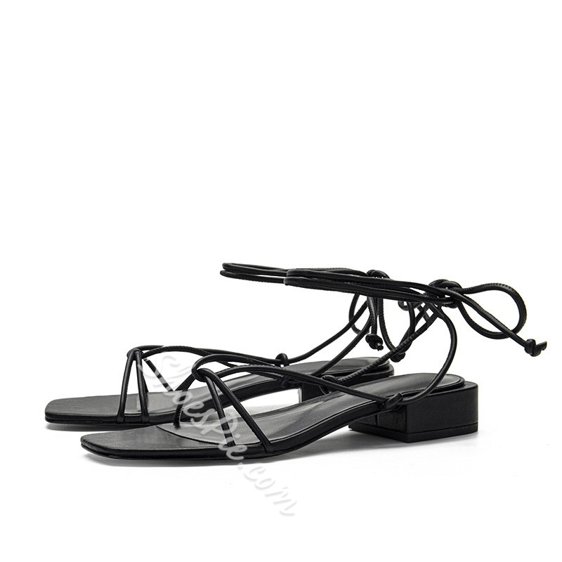 Shoespie Sexy Lace-Up Square Toe Chunky Heel Cross Strap Sandals