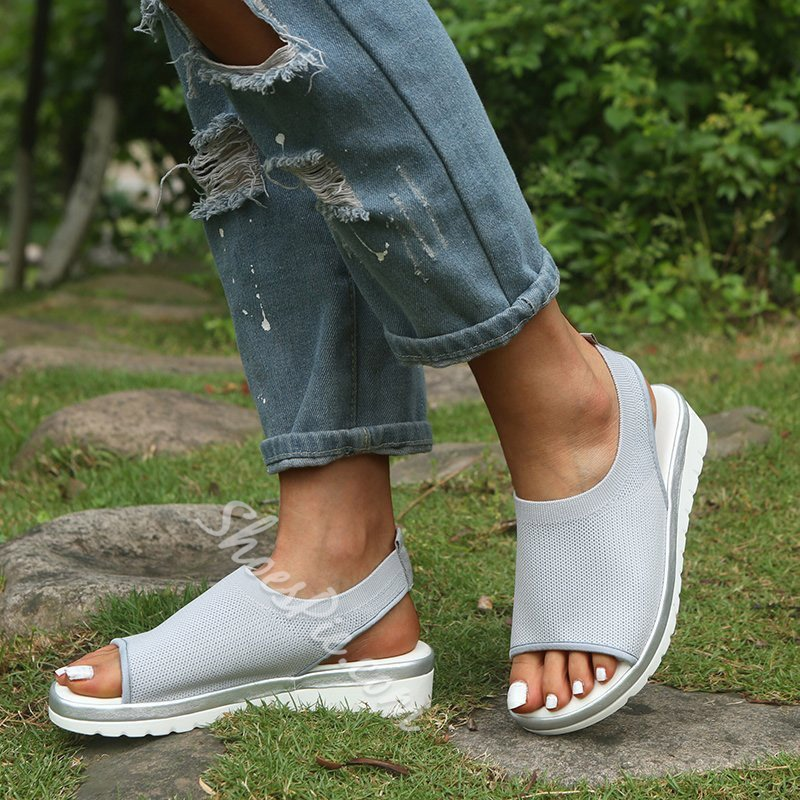 Shoespie Stylish Platform Wedge Heel Slip-On Plain Slippers