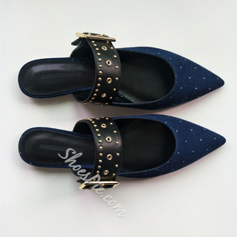 Shoespie Stylish Rivet Line-Style Buckle Flat With Plain Slippers