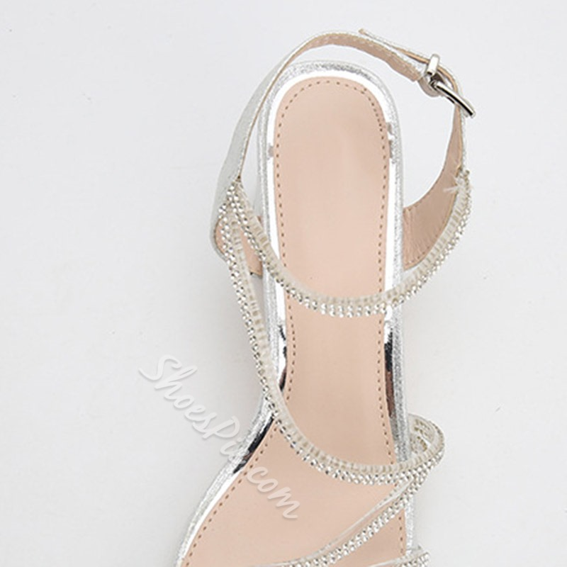 Shoespie Sexy Ankle Strap Open Toe Buckle Rhinestone Sandals