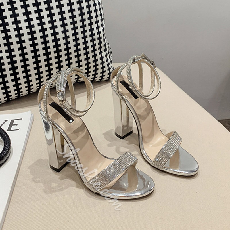 Shoespie Stylish Round Toe Buckle Chunky Heel Low-Cut Upper Sandals