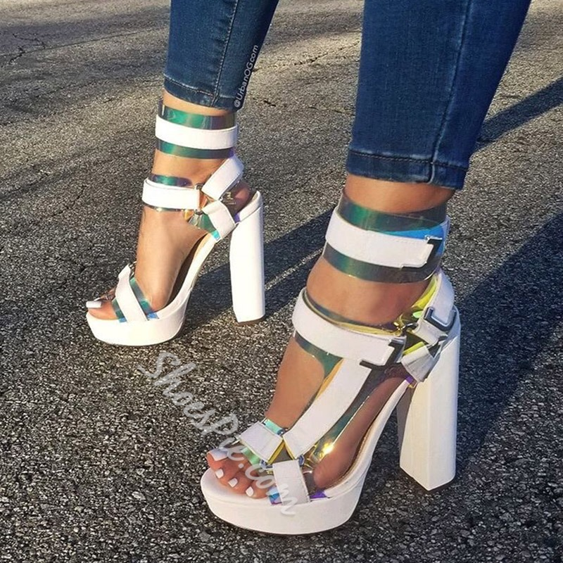 Shoespie Sexy Ankle Strap Buckle Chunky Heel Buckle Sandals