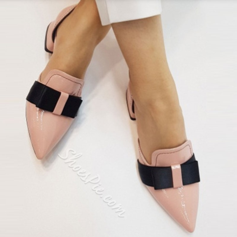 Shoespie Stylish Block Heel Bow Pointed Toe Sweet Thin Shoes