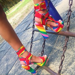Shoespie Stylish Peep Toe Velcro Color Block Sandals