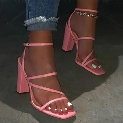 Shoespie Sexy Line-Style Buckle Square Toe Chunky Heel Candy Color Sandals