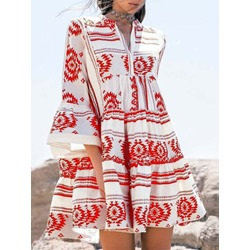 Above Knee Three-Quarter Sleeve Print Casual Women's Dress