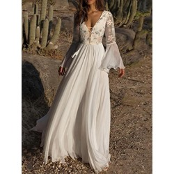 Lace Floor-Length Long Sleeve Floral Women's Dress