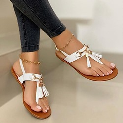 Shoespie Stylish Buckle Flat With Thong Fringe Sandals