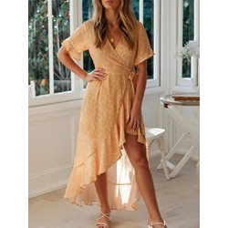 Ankle-Length Short Sleeve Asymmetric Flare Sleeve Women's Dress