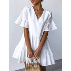 Above Knee V-Neck Short Sleeve High Waist Women's Dress
