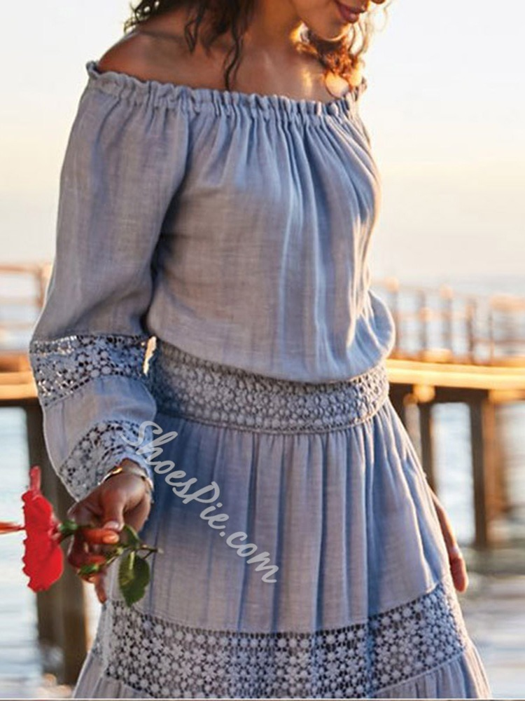 Off Shoulder See-Through Long Sleeve Floral Women's Dress